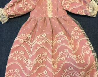 Vintage Doll Dress Mauve Pink with Lace Overlay Pearl Buttons Puff Sleeves