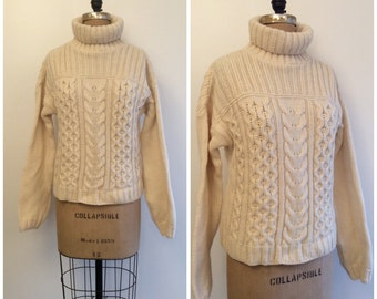 Vintage Fisherman Sweater Aran Irish Wool Sweater Cable Knit