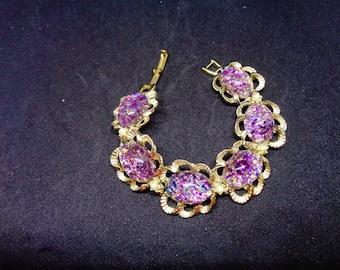 Vintage purple CONFETTI  bracelet*** FREE SHIPPING