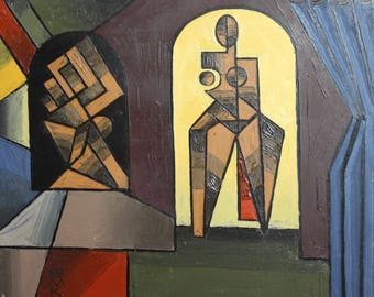 1989 European art oil painting cubism signed