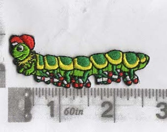 Green caterpillar with red hat iron on patch