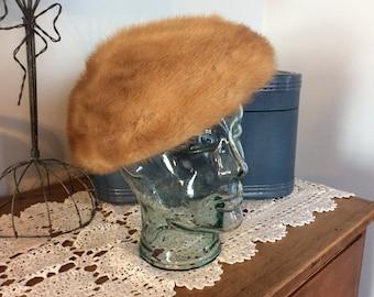 Vintage mink beret hat honey brown fur hat