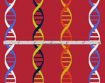 Red DNA Fabric, Science Fabric, Chemistry Quilt Fabric, Studio E Fabrics Geek Chic 3735 88, Science Fair, Laboratory Fabric, Cotton