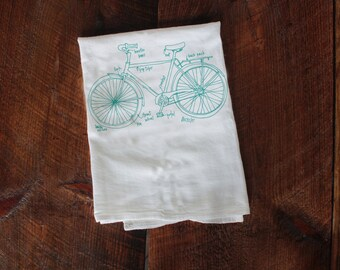 Bicycle Tea Towel, Bike Diagram Tea Towel, Kitchen Towel, Apartment dish Towel, White Cotton Dish Towel, Housewarming Gift Hostess gift