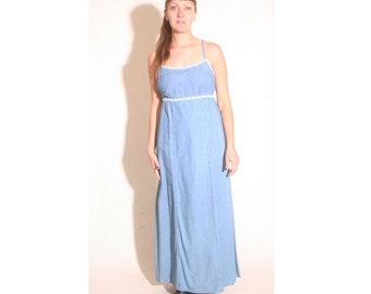 Vintage 1990s Denim and Daisies Empire Waist Maxi Dress size 10
