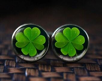 Four Leaf Clover cufflinks, Lucky Clover cufflinks, St. Patrick's Day Green Shamrock cufflinks, Irish cufflinks, Green cufflinks