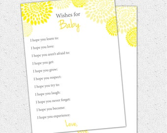 Well Wishes, I hope You, Baby Shower Game, Printable Yellow and Charcoal Grey Gray Floral, Digital File