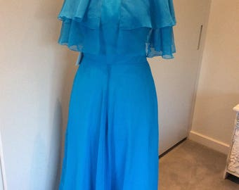 Vintage 1970's Peterson Maid of London maxi dress and capelet, UK size 10