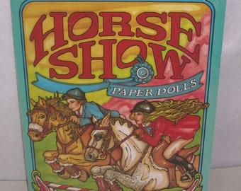 Horse Show Vintage Paper Dolls Coral Barrel Jump Stable Saddles Horses Kids Activity Book 1986 Troubador USA