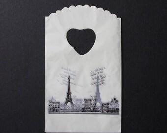Sack plastic gift retro Paris white / black