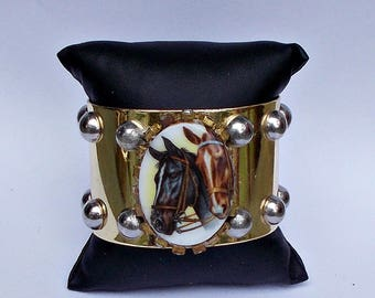 Gold Tone Horse Portrait Cuff Bracelet with Silver Tone Studs and Rhinestone Bezel Setting