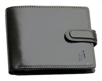 Mens black brown real italian leather wallet with coin pocket pouch and id window. Multi card holder