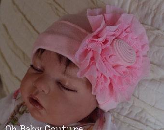 Infant Newborn big Flower Beanie Take me Home Hospital Beanie