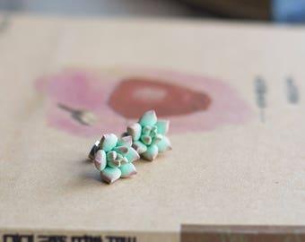 Plant earrings - succulent studs - succulent earrings - nature earrings - terrarium earrings - sculptural earrings - succulent jewelry