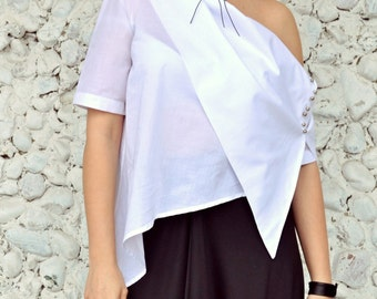 Extravagant White Top, Asymmetrical White Top, Deconstructed White Blouse, Elegant Summer Blouse TT83 by TEYXO