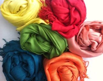 6 PASHMINA SHAWL.You can choose Any Color !!!!. Wedding Favors. Scarf. Pashmina Shawl. Bridal Shawl. Bridesmaid shawl. Bridesmaid gift.
