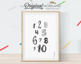 Numbers Print/ Numbers Poster, Nursery Print Numbers, Black and White Nursery, Girls Room Print, Nursery Art, 123 Print, Instant Download