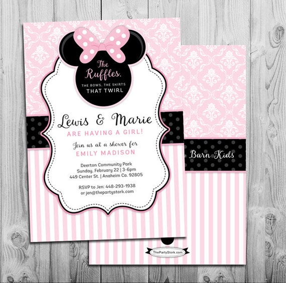Minnie mouse baby shower invitation printable invite pink filmwisefo