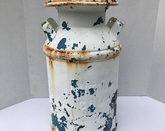 Antique Milk Can, Vintage Dairy Milk Can, White and Blue