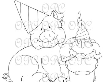 Digital Stamp Boris the Party Pig