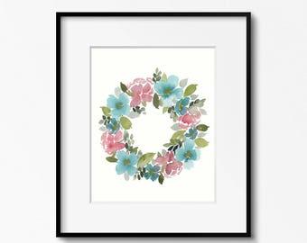 Teal and Pink Wreath - 11x14 Original Watercolor