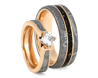 Rose Gold Meteorite Ring Set, Handmade Engagement And Wedding Band With Stardust, Space Ring Set