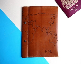 Personalised leather travel journal, travel diary, gift for him, personalized travel gift, world map, graduation gift, gap year, teenager