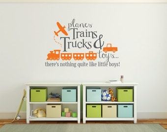 Boy wall quotes, Planes trains trucks and toys wall decal, Playroom wall decal Wall sticker quotes for boys Transportation wall decals DB343