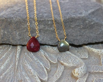 Solitaire Ruby Choker Necklace, Labradorite Choker Solitaire Necklace, Bridal delicate necklace, Gift for Mom