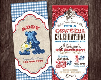 WESTERN COWGIRL INVITATION Birthday Party --  Printable digital file or personalization for printing