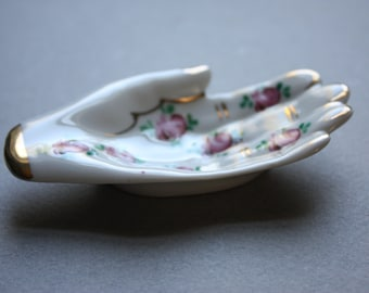 Porcelain Hand Trinket Dish with Roses and Gold-Colored Embellishments, Made in France