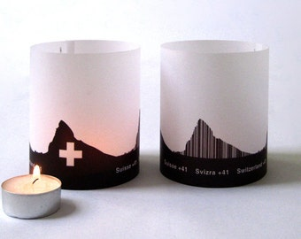 SWISS tablelight Switzerland set of 2 lanterns candlelight in fume and plum - City Shade Swiss Skyline