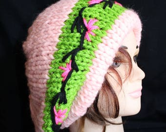 hot pink and green beret with embroidery