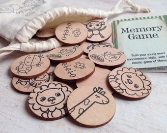 Wooden Memory Game - Animal Friends Edition