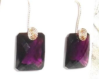Natural 40cts Octagon CKB Purple Amethyst gemstones, 14kt yellow gold Pierced Earrings