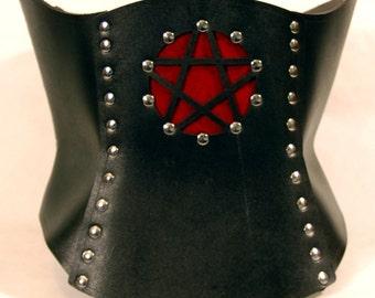 Hard Leather Pentacle Corset - Custom