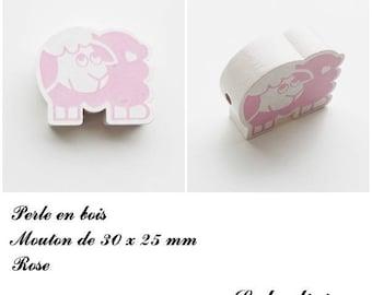 30 x 25 mm wooden bead, Pearl flat sheep: pink