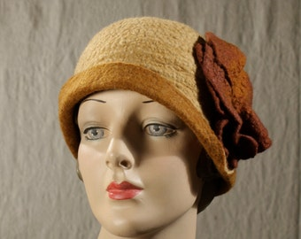 Cloche Hat in Camel Felted Wool w/Patina and Brown Calladium Leaves - Hand Felted Wool Cloche - Purple Hat