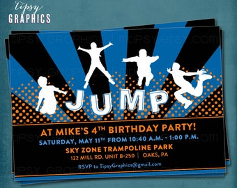 Jump Trampoline or Bounce House Birthday Party Invite for Big Kids by Tipsy Graphics