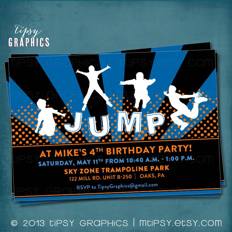 Jump Trampoline or Bounce House Birthday Party Invite for Big