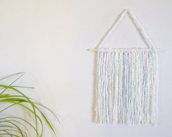 Pastel Wall Hanging Baby Girl Nursery Wall Decor Nursery Wall Hanging Yarn Wall Hanging Nursery Mobile Yarn Art Home Decor Nursery Decor