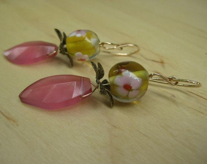 Insouciant Studios Dianthus Earrings Cased Floral Lampwork
