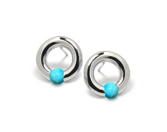 Contemporary Turquoise Tension Round Earrings in Steel Stainless