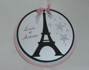 announcement round baptism communion eiffel Paris Eiffel Tower and customizable stars