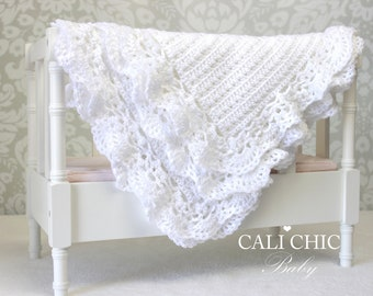 Crochet PATTERN 99 - Silver Spoon - Crochet Baby Blanket PATTERN 99 - Christening Blanket