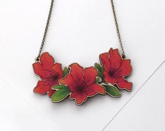 Laser Cut Azalea Rhododendron Floral Statement Necklace, illustrated wood - Garden Plant Flower Botanical Jewellery - Birch Please