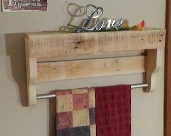 Small rustic pallet wood towel rack