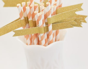 Peach Coral & White Stripe Paper Straws with Gold Glitter Flags - 20 count