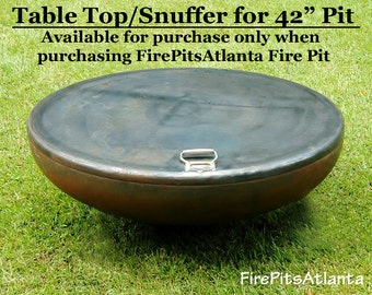 Fire Pit  42 inch Steel Table Top - Shipped with firepit only - FirePit Table Top Fire Pit Snuffer Top Metal Fire pit table fire bowl cover