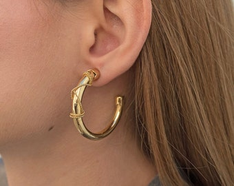 Gold Hoop Earrings / Vintage Hoop Earrings / 80s Earrings / Dead-Stock Earrings / Vintage Accessories / Vintage Earrings